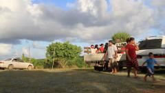 Family Travels on Micronesian Island of Yap - stock footage