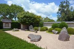 Japanese garden of contemplation in hamilton gardens - new zealand Stock Photos