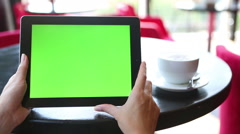 Tablet computer green screen Stock Footage