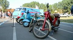Retro motor bike during Old Car Fest 2014  in Kiev, Ukraine, Stock Footage