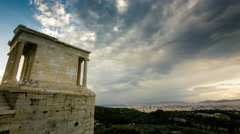 4K Acropolis parthenon site timelapse pillars overcast sky sunset Stock Footage