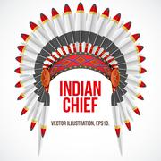 Indian chief hat with plumage. Front view. Vector - stock illustration