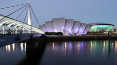 Stock Video Footage of Bells Bridge and Clyde Auditorium at dusk Glasgow Scotland
