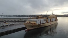 Time-lapse of container ship off load Stock Footage