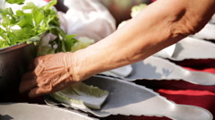 Restaurant kitchen woman preparing fish dishes for customer . Stock Footage
