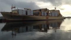 Time lapse of container ship off load Stock Footage