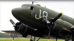 WWII Military Transport C-47 Dakota 3:4 Static CU Stock Footage