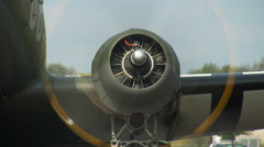 WWII Military Transport C-47 Dakota Left Engine Start CU Stock Footage