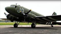 WWII Military Transport C-47 Dakota 3:4 Static Stock Footage