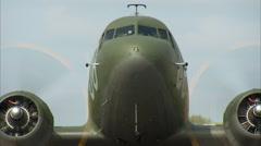 WWII Military Transport C-47 Dakota Run Up Head On Stock Footage