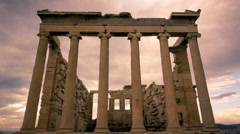 Stock Video Footage of 4K Acropolis parthenon site timelapse pillars overcast sky sunset