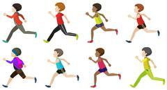 Faceless kids running Stock Illustration