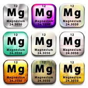 Buttons showing Magnesium and its abbreviation - stock illustration