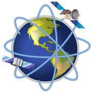 A satellite around the planet Stock Illustration