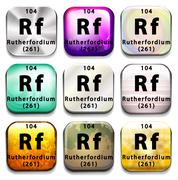Buttons showing Rutherfordium and its abbreviation Stock Illustration