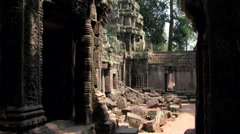 Slow Pan Ancient Temple Thom Wat Cambodia Jungle Ruins 8180 Stock Footage
