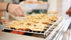 Roast Pork Satay on oven, Thai food in Thailand Stock Footage