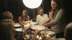 Stock Video Footage of Friends enjoying outdoor dinner