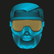 Creative Artwork of symbol skier or snowboarder with goggles. - stock illustration