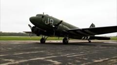 WWII Military Transport C-47 Dakota Right Engine Start Stock Footage
