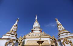 Temple pagoda chai mongkol in roi et. Stock Photos