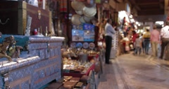 Focus Pull of Stalls Inside of Souk Mutrah (4K) Stock Footage