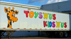 Toys R Us store delivery truck loop Stock Footage