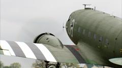 WWII Military Transport C-47 Dakota Taxi Away Stock Footage