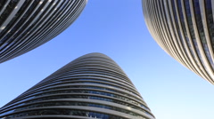 Office buildings under blue sky, sunny day in Beijing, rotation Stock Footage