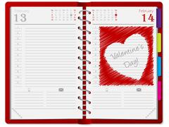 Agenda with scribbled heart Stock Illustration