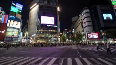 Time lapse footage of pedestrians and vehicles at Shibuya scramble crossing Stock Footage