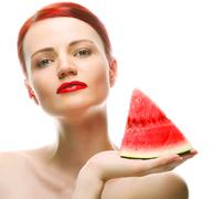 Beautiful young woman with  water melon Stock Photos