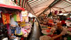 Walk Through Busy Street Market Pham Ngu Lao - Ho Chi Minh City Stock Footage