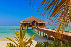 spa saloon on maldives island - stock photo