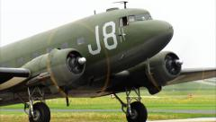 WWII Military Transport C-47 Dakota Taxi To Stop Stock Footage