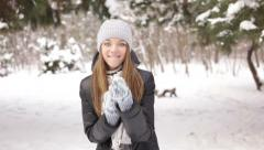Girl flirting on camera in winter snow covered forest Stock Footage