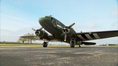 WWII Military Transport C-47 Dakota Zoom In Stock Footage