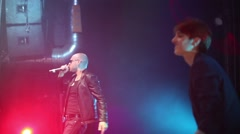 Dutch singer Ralf Mackenbach and russian singer V.Stukov at show Stock Footage