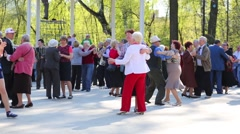 People dance in park In Moscow, Russia at day. Stock Footage