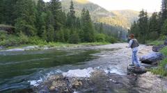 Flyfishing on beautiful river Stock Footage