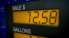 Closeup on gas pump showing the price of an arm and a leg - stock footage