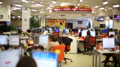 Employees work in office of RIA Novosti russian news agency Stock Footage