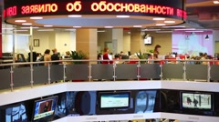Working people in office of RIA Novosti russian news agency Stock Footage