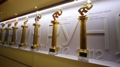 Awards in office of RIA Novosti russian news agency. Stock Footage