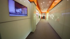 Hallway in office of RIA Novosti russian news agency. Stock Footage