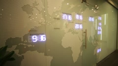 Map with time zones in office of RIA Novosti russian news agency Stock Footage