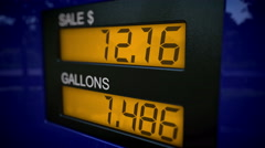 4K gas pump showing the price of an arm and a leg - stock footage