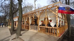 Cafe on veranda in Sokolniki park in Moscow. Stock Footage