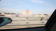 View at industrial estate from the window of moving car. Stock Footage