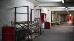 Corridor of storage space in the industrial building. Stock Footage